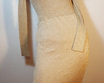 FREE  SHIPPING  1970 Lurex Metallic Gold Dress