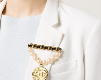 CHANEL Vintage Couture Pearl and Leather with CC Logos Coin Brooch