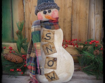 Primitive Folk Art Snowman Doll, OOAK, Winter, Christmas, Snow, Holiday Decor, Shelf Sitter, OFG FAAP