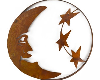 Man on the Moon with Stars Metal Wall Sculpture WS1810