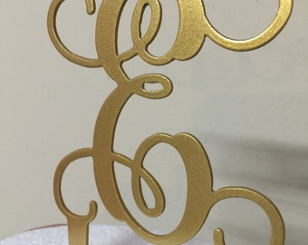 "Gold wedding Monogram Cake Topper 6"" tall x 5"" wide Elegant Cake Toppers - 25+ colors - Custom made and Personalized"