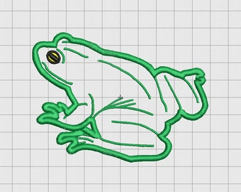 Frog Real Applique Embroidery Design in 3x3 4x4 and 5x5 Sizes