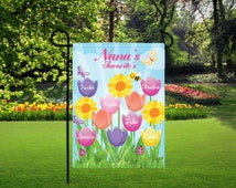 Personalized tulip garden flag, mothers day gifts, nana gifts, garden decor, personalized garden decor, backyard signs, tulip garden flag