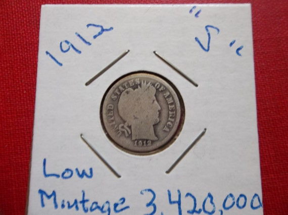 Barber Dime Key Dates : 1912 S Barber dime Key Date very low mintage by DERBYCITYCOINS