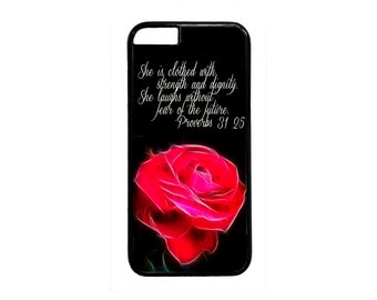 Christian Bible Verse Rose Case Cover for iPhone 4  4s 5 5s 5c 6 6s  6 Plus iPod Touch