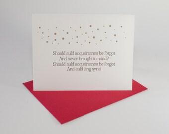 set of 6 ~ auld lang syne letterpress cards