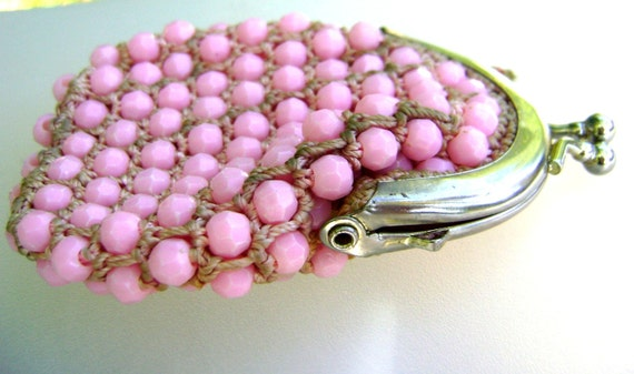 Purse Beaded Pink Valentines Day Pouch Vintage Girls Womens Coin Purse Baby Pink Beads Handmade