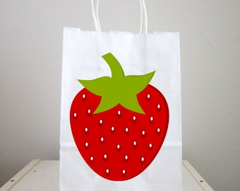 Strawberry Goody Bags, Strawberry Favor Bags, Strawberry Gift Bags, Strawberry Goodie Bags, Strawberry Party