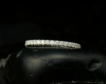 Briana - Diamond Wedding Band in White Gold, Round Brilliant Cut, Prong Set, 3/4 Eternity Style, Stackable, Free Shipping