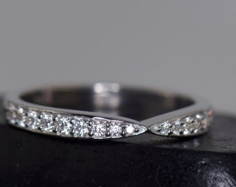 Bow Tie Shaped Diamond Stacking Band, 14k White Gold, Hybrid Prong Channel Set Diamonds, 1/2 Eternity, Vintage Style, Pinched Center, Imani