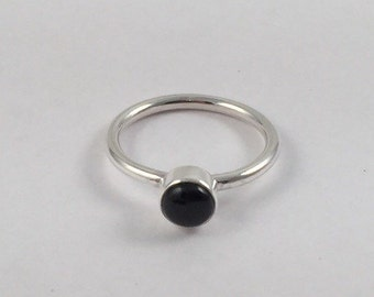 Silver Stacking Ring, Black Onyx  Ring, Sterling Silver Ring, Black Stone Ring, Silver Ring, Silver Band, Black Onyx Jewelry, Gemstone Ring