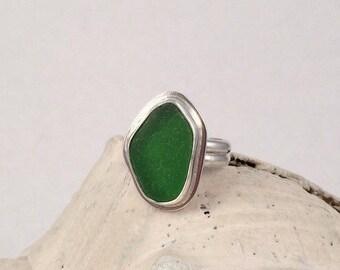 Sea Glass Ring, Green Sea Glass, Sterling Silver Ring, Beachy Jewelry, Seaglass Ring, Sea glass Jewelry, Silver Ring, Beachy Ring, Seaglass