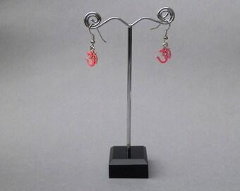 UV reactive Ohm earrings,Festival,Rave party jewelry,Psychedelic ,Hippie jewelry,Om symbol earrings