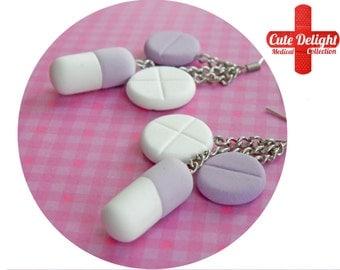 Light Purple Pills Earrings, Pill Earrings, Custom pills earrings, green pills accessories, cute pills earrings, pills jewelry, pill jewelry