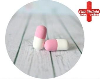 Pink / White Pills Earrings, Pill Earrings, Custom pills earrings, pink pills accessories, cute pills earrings, pills jewelry, pill jewelry