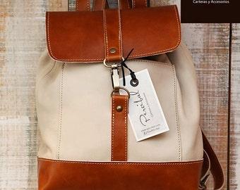 Natural leather backpack, cream leather rucksack, backpack bucket bag, rucksack for women, backpack for teens, satchel backpack,