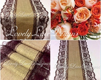 Fall Weddings!Burlap Lace Table Runner /Brown/ Lace, 3FT-10FT X 13in Wide/Rustic/Wedding Decor/Weddings/fall decoration/centerpiece/tabletop