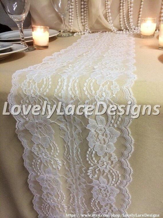 12ft 20ft white lace table runner wedding by lovelylacedesigns for 12 foot table runner