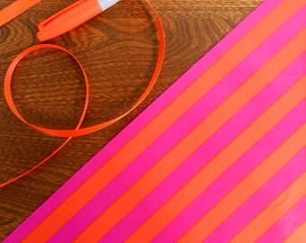 Vintage Hot Pink & Bright Orange Striped Gift Wrap Roll 2 yards