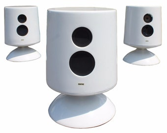 Mid Century Modern Empire Set of 3 White Floor Speakers