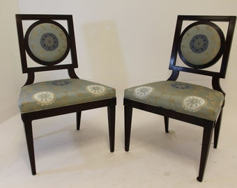 Mid Century Modern Pair of Baker Asian Style Side Chairs