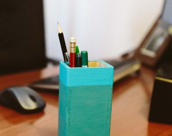 Handmade painted wood pencil holder/pencile case