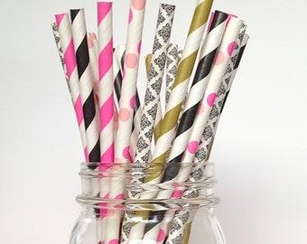 21st birthday Party Straws Black Gold & Hot Pink Paper Straws, Rock Star Party, Rock Star Birthday
