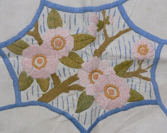 3 Vintage floral heavily hand embroidered pillow cases/slips on linen with button backs