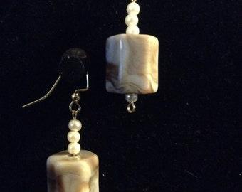 Chocolate n caramel swirls and pearls earrings