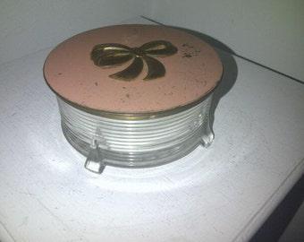 Vintage Powder Jar with Mirrored Lid