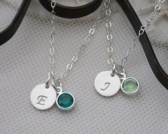 Sterling Silver Initial Necklace, Letter Birthstone Necklace, Personalized, Letter E Necklace, Letter J, Custom Letter Necklace, Dainty