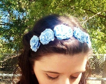 Light Blue Flower Headband