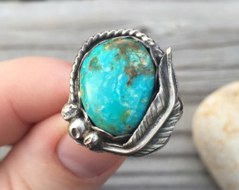 Medium Cripple Creek Turquoise Sterling Silver Ring with Handcrafted Sterling Silver Feather - Size 7