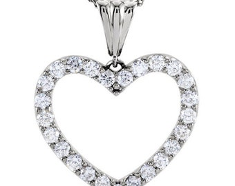 Diamond Heart Necklace Pendant| 1 CTW SI Quality Diamonds| White Yellow or Rose Gold| Holiday Gift for Her