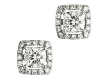 Moissanite Halo Stud Earrings| Forever Brilliant Moissanite| Diamond Alternative| Bridal Earrings| Conflict Free