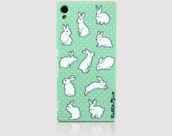 Sony Xperia Z3+ Case - Rabbit & Mint Polka Dot (P00051)