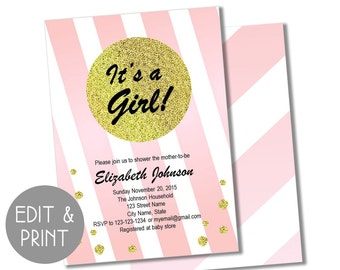 INSTANT DOWNLOAD two-sided editable printable Shower Invitation Template * Customizable * Reusable * Baby Shower * It's a Girl!