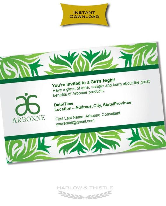 INSTANT DOWNLOAD Printable Arbonne Party Invitation – Arbonne Party Invitations