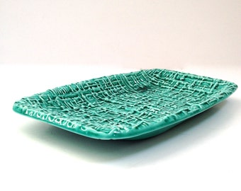 Mid-Century Inarco Pottery Tray Turquoise
