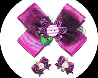 Puppy Bows ~ Extra large collar bow and matching topknot or ear dog grooming hair bow pink zebra ~ US seller