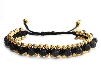 Gemstone macrame beaded bracelet