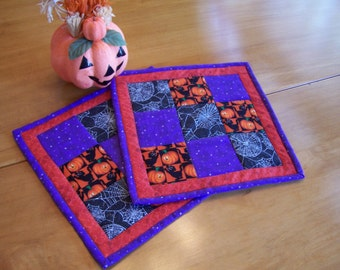 Set of two Halloween Mug Rugs, Hot Pads, Trivets, Candle Mats