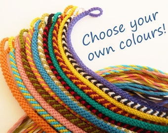 Super Skinny Custom Friendship Bracelet Narrow Macrame Bracelet Choose your own Colour Simple Thin Flat Braided Woven Stripy Custom Color