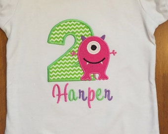Girly Monster Birthday Shirt or Baby Bodysuit