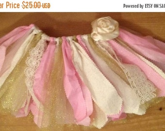 ON SALE Light Pink, Ivory, and Gold Scrap Fabric Tutu