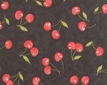 New! Farmhouse Vintage Cherries Black by Fig Tree and Co 20251 18 (1 yard cuts)