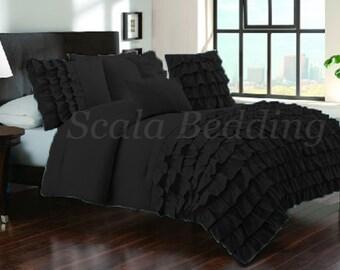 Sale-800 TC 100% Egyptian Cotton Black Half Ruffle Duvet Set Select Size