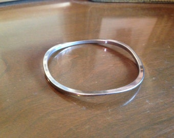 Vintage Silver Toned Wavy Bangle Bracelet