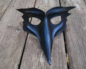 Leather Raven Mask Black Mask Bird Mask Mystical Bird Fantasy LARP cosplay