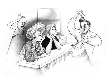 I LOVE LUCY  inspired black and white limited edition parody art print by Dave Woodman